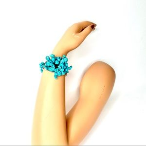 Jewelry - TURQUOISE CLUSTER  Silver Bracelet